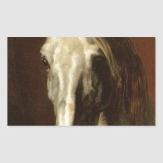 Huvudet av vithästen av Theodore Gericault Rektangulärt Klistermärke