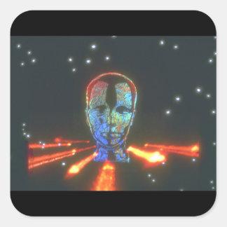 Huvudet och avfyrar. (head_Spaceplatser Fyrkantigt Klistermärke