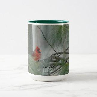 Huvudsaklig fågel, vinter, evergreen Två-Tonad mugg
