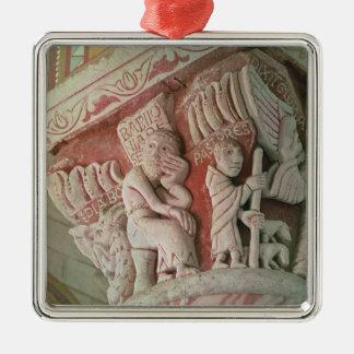 Huvudstad från kor från 'Babilonia Silverfärgad Fyrkantigt Julgransprydnad