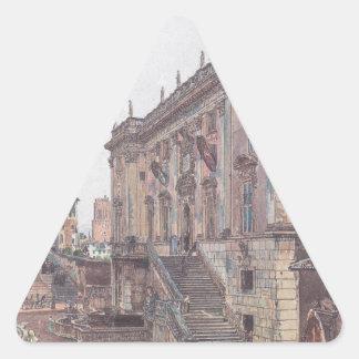 Huvudstaden i Rome av Rudolf von Alt Triangelformat Klistermärke