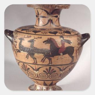 Hydria som jagar plats, arkaisk grek, svart figur fyrkantiga klistermärken