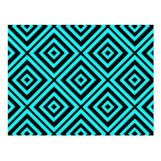 Hypnotisk geometri för blått vykort