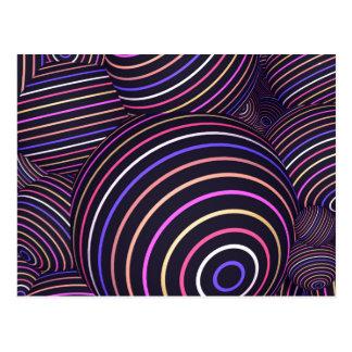 Hypnotisk regnbåge färgad Spheresabstrakt Vykort