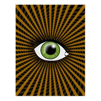 Hypnotiskt grönt öga vykort
