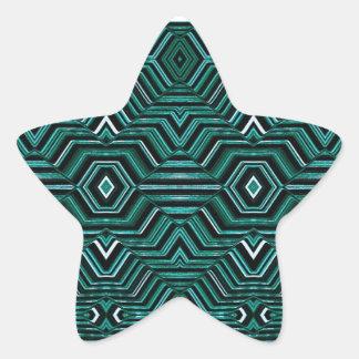 Hypnotiskt mönster stjärnformat klistermärke