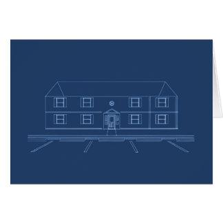 Hyreshus/hus: Blåtttryck Hälsningskort
