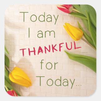 """""""I dag mig tacksam"""" glansig klistermärke för"""