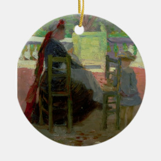 I de Luxembourg trädgårdarna Rund Julgransprydnad I Keramik