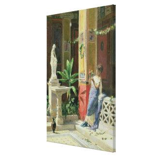 I en borggård i Pompeii 1878 Canvastryck