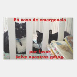 I fall att av den nöd- sparan vår katt rektangulärt klistermärke