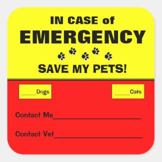 I fall att av för räddinghusdjur för akut vakna fyrkantigt klistermärke