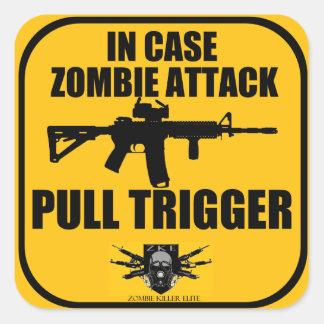 I fall att startar Zombieattackhandtag Fyrkantiga Klistermärken
