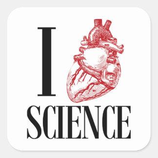 I heart science fyrkantigt klistermärke