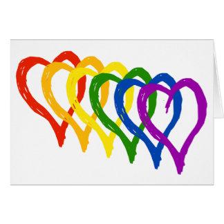 I lagra hjärtor för valentingay prideregnbåge hälsningskort