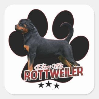 I Love My Rottweiler Sticker Fyrkantigt Klistermärke
