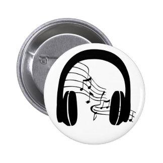 I min Head emblemmusik till och med headphones. Standard Knapp Rund 5.7 Cm