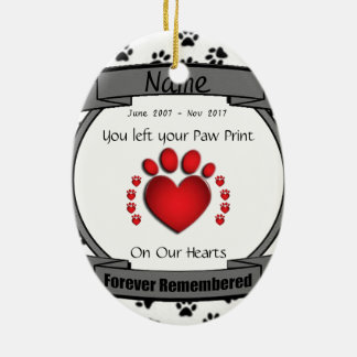 I minne av den mindas för evigt för din hund eller julgransprydnad keramik