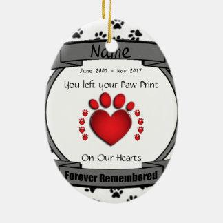 I minne av den mindas för evigt för din hund eller ovalformad julgransprydnad i keramik