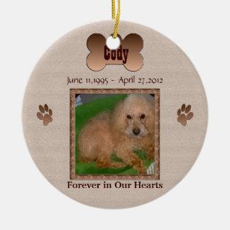 I minne av din hund rund julgransprydnad i keramik