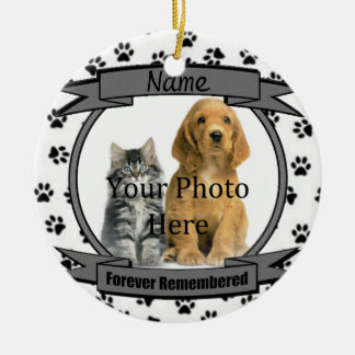 I minne av din mindas hundför evigt julgransprydnad keramik