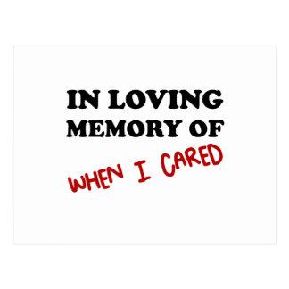 I minne, när du att bry sig vykort