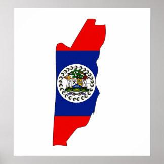 I naturlig storlek Belize flaggakarta Poster