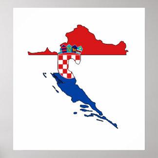 I naturlig storlek Kroatienflaggakarta Poster