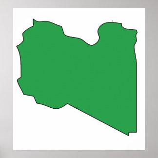 I naturlig storlek Libyen flaggakarta Poster