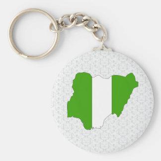 I naturlig storlek Nigeria flaggakarta Rund Nyckelring