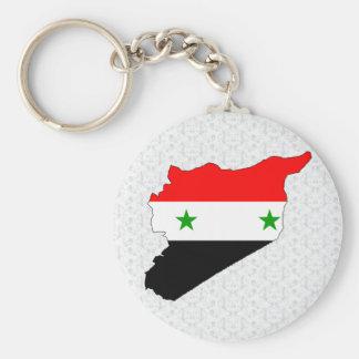 I naturlig storlek Syrien flaggakarta Rund Nyckelring