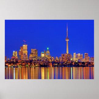 I stadens centrum Toronto horisont på natten Poster