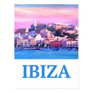 Ibiza för Retro affisch gammal Town och hamn Vykort