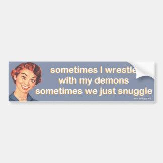 ibland brottas jag med min demoner… bildekal