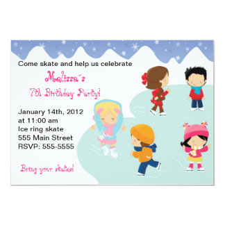 Iceskating barns födelsedagpartyinbjudningar 12,7 x 17,8 cm inbjudningskort