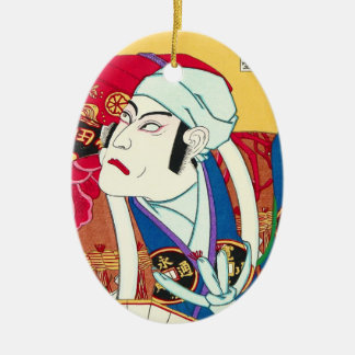 Ichikawa Danjuro - kunisada för Julgransprydnad Keramik