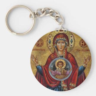 Iconic 15th århundrade Mary med Kristusbarnet Rund Nyckelring