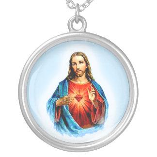 Iconic avbilda av Jesus med hjärtahalsbandet Silverpläterat Halsband