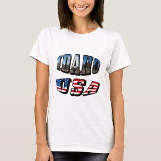 Idaho bild statliga och flaggaUSA text Tee Shirts