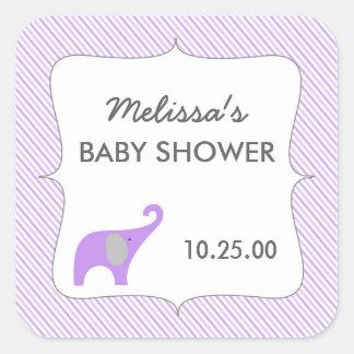 Idé för favör för baby shower för fyrkantigt klistermärke