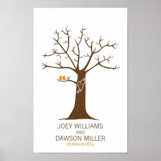 Identifiera med fingeravtryck trädbröllop (vit) affisch