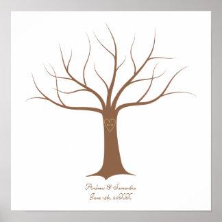 Identifiera med fingeravtryck trädbröllopguestbook affischer