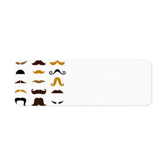 Idérik designuppsättning för mustascher: Kort Returadress Etikett