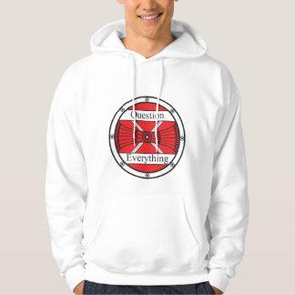 Ifrågasätta allt sweatshirt med luva