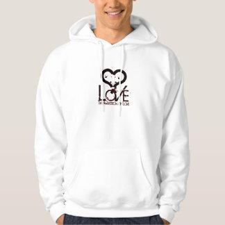 Ifrågasätta av kärlek sweatshirt med luva