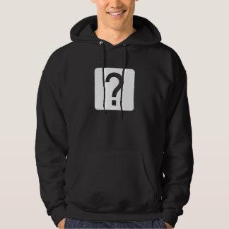 Ifrågasätta markerar kvadrerar panelen hoodie