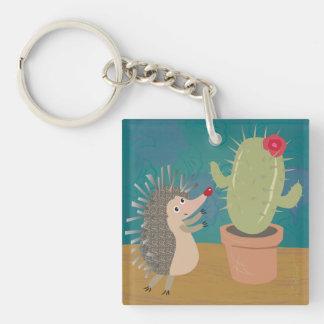 Igelkotten möter kaktusen Keychain