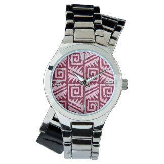 Ikat Aztec mönster - Burgundy och rosor Armbandsur