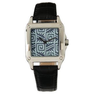 Ikat Aztec mönster - indigoblått och tänder - Armbandsur