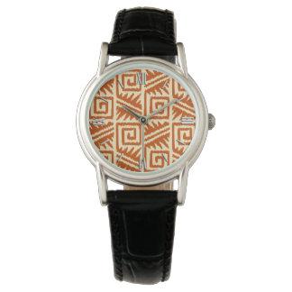Ikat Aztec mönster - mandarinen och tänder - Armbandsur